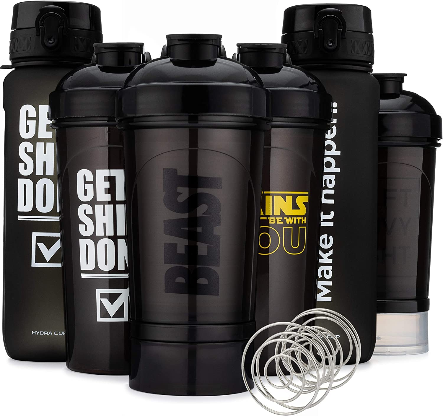 Hydra Cup - [6 Pack] Shaker Bottle & Water Bottle Pack, Max Value Blender Pack, Protein Shaker Cups & Water Bottle with Timed Markers.