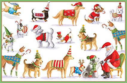 entertaining with caspari waiting for santa christmas cards box of 16 - Animal Christmas Cards