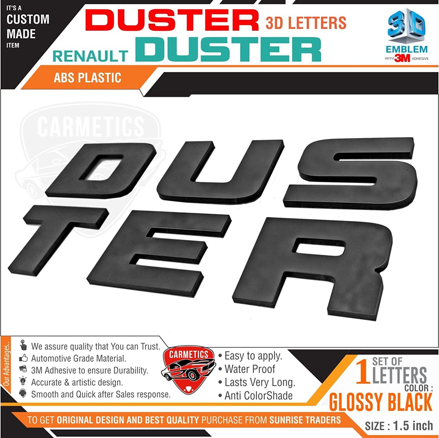 Carmetics 3d car stickers accessories mirror finish duster 3d letters for renault duster car free gang of dusters sticker black amazon in car