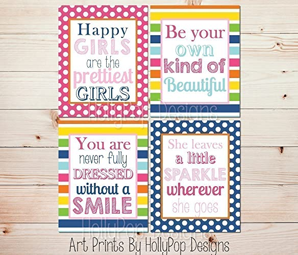 Amazing Teen Girl Wall Art   Inspirational Quotes   Bright Colorful Girl Bedroom  Art   Toddler Girl Decor   She Leaves A Little Sparkle   SET OF 4 UNFRAMED  ART ...