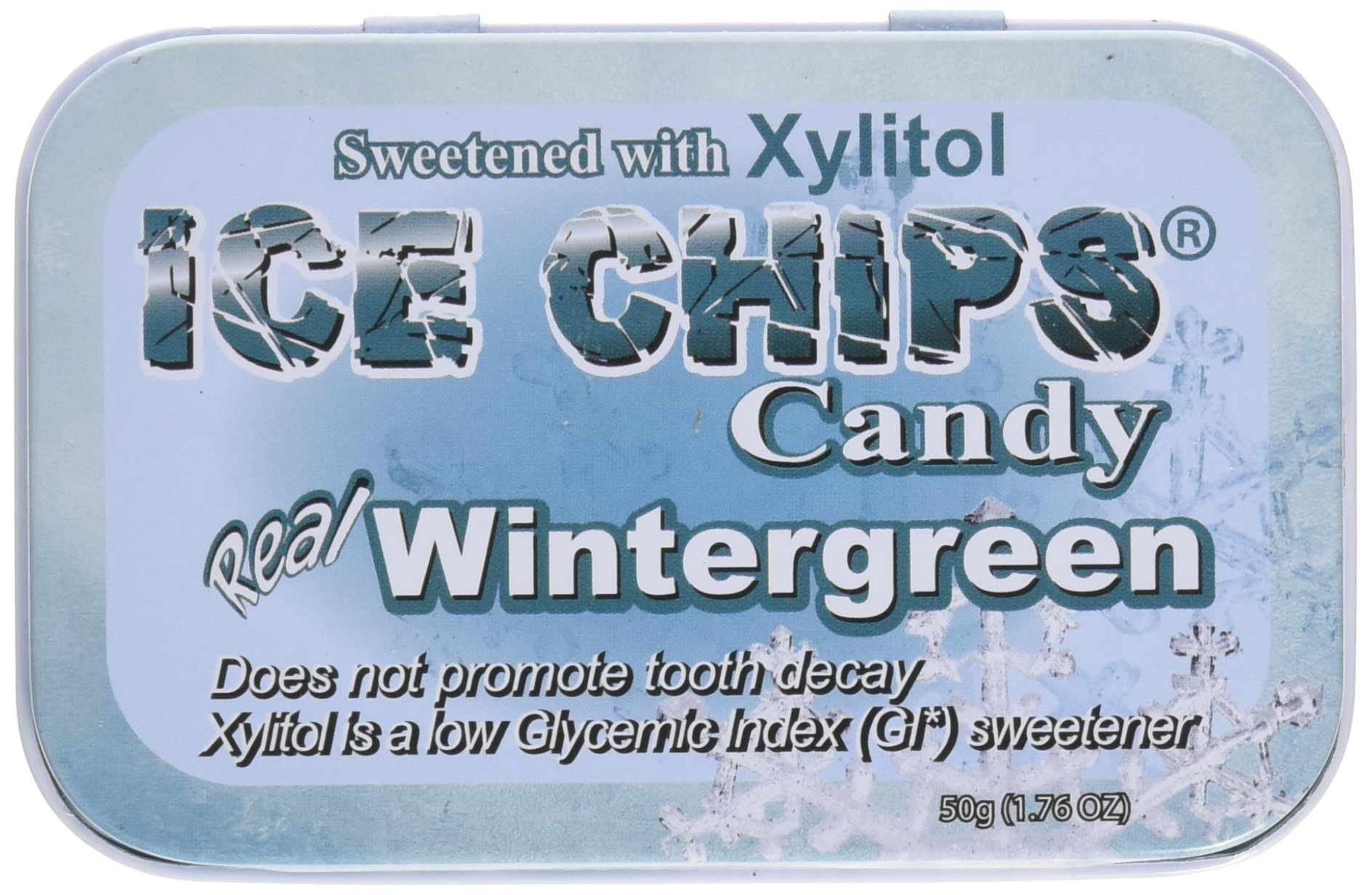 ICE CHIPS Candy Hand Crafted Tin, Wintergreen, 1.76 Ounce