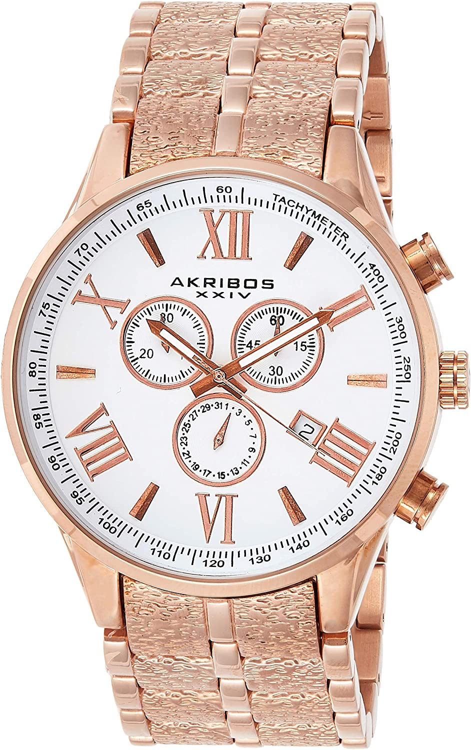 Akribos Chronograph Multifunction Tachymeter Men's Watch - Stainless Steel Wristwatch with Date, Day and 24 Hour 3 Sub Dials - AK960