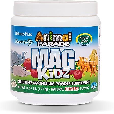 NaturesPlus Animal Parade Source of Life Sugar-Free MagKidz Children's Magnesium Powder Supplement - Natural Cherry Flavor - 0.37 lb - Bone & Muscle Health Support - Gluten-Free - 45 Servings