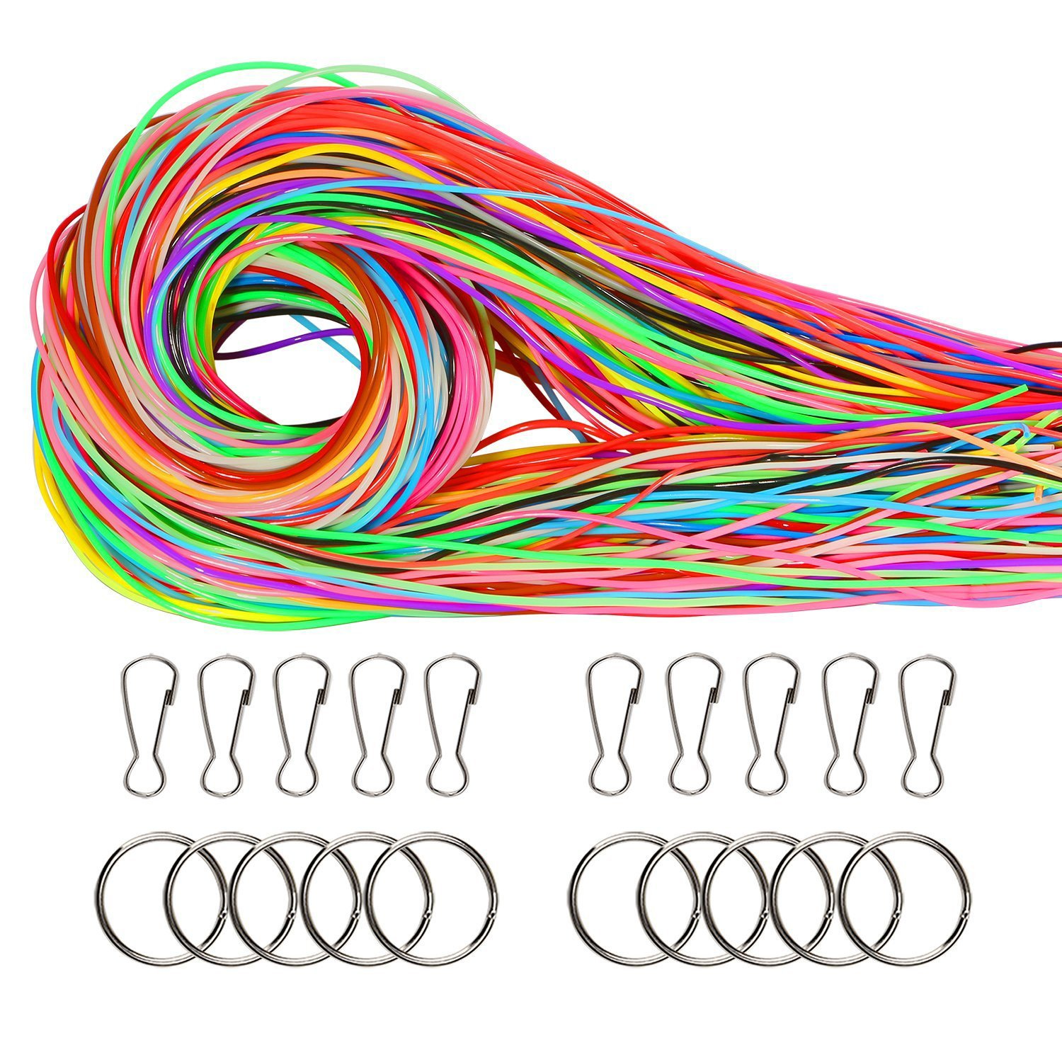 Coobey 160 Pieces Scoubidou Strings DIY Craft Gimp String with Snap Clip Hooks Keychain Ring Clips Plastic Lacing Cord for Jewelry Making, 525-Feet,16 Colors