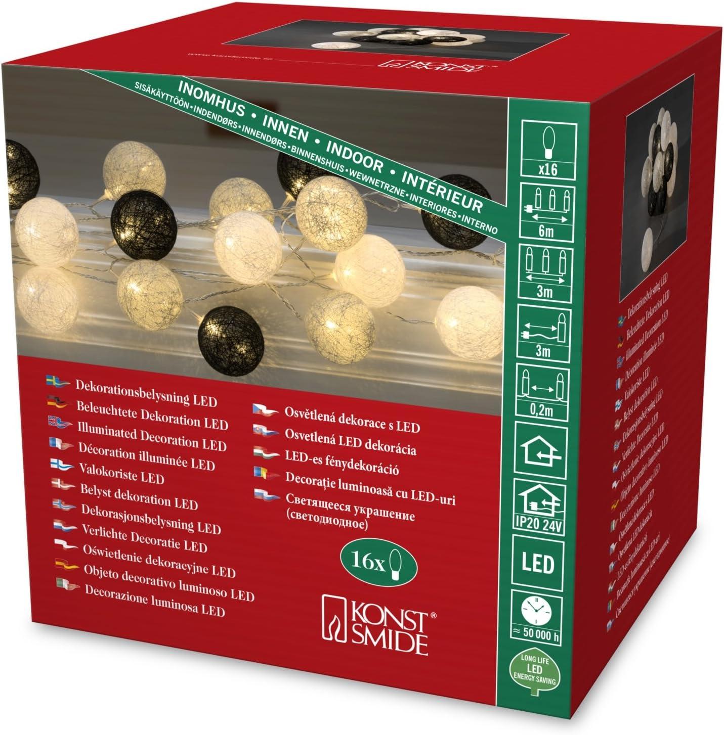 Konstsmide LED guirnalda, negro/gris/blanco de algodón bolas ...