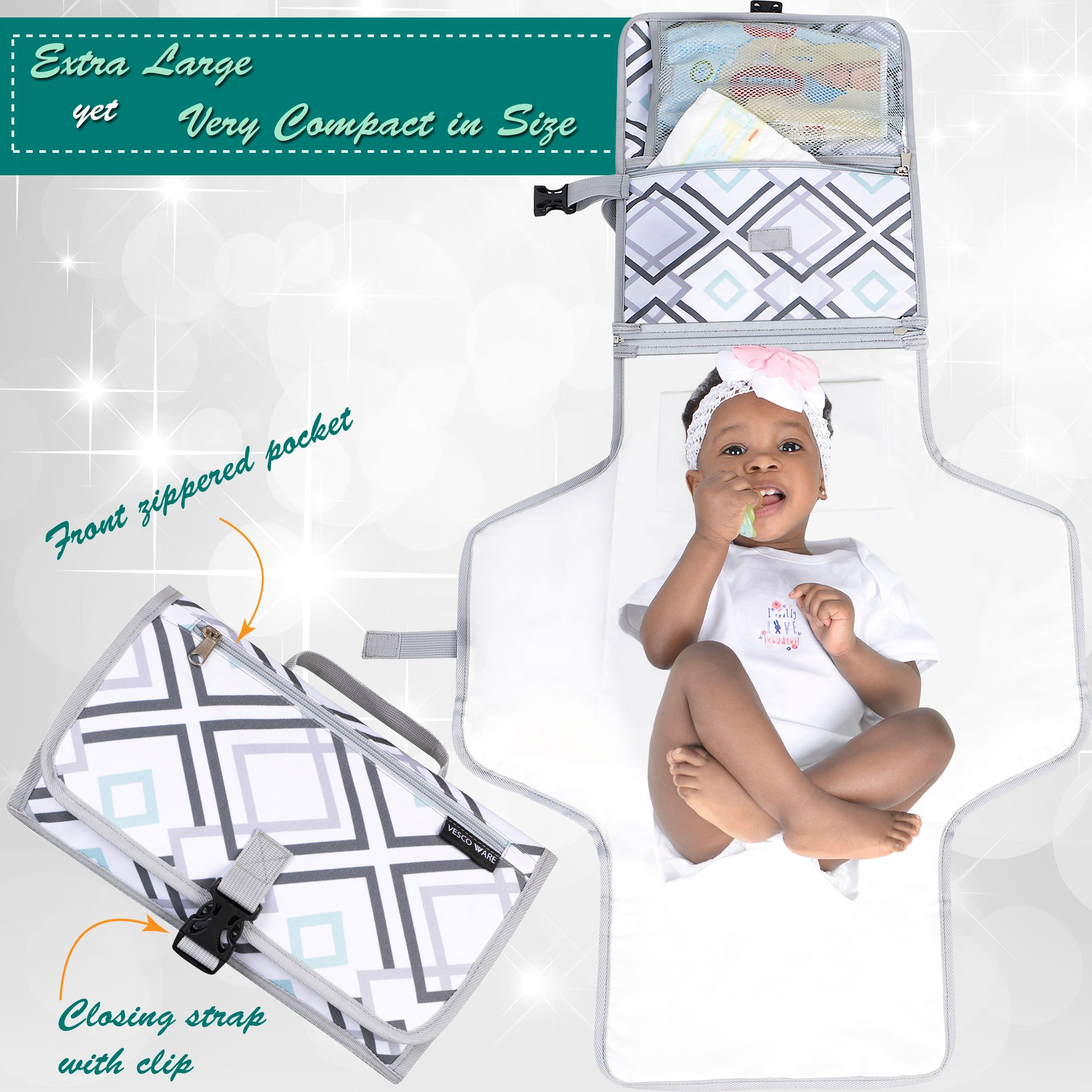 Portable Baby Changing Mat - Large Waterproof Diaper Changing Station - Padded Travel Pad with Head Cushion, 3 Pockets, Multi-Color by Vescoware (Image #3)