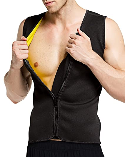 9f19dd066e Roseate Men s Body Shaper Hot Sweat Workout Tank Top with Zip Slimming  Neoprene Weight Loss Vest
