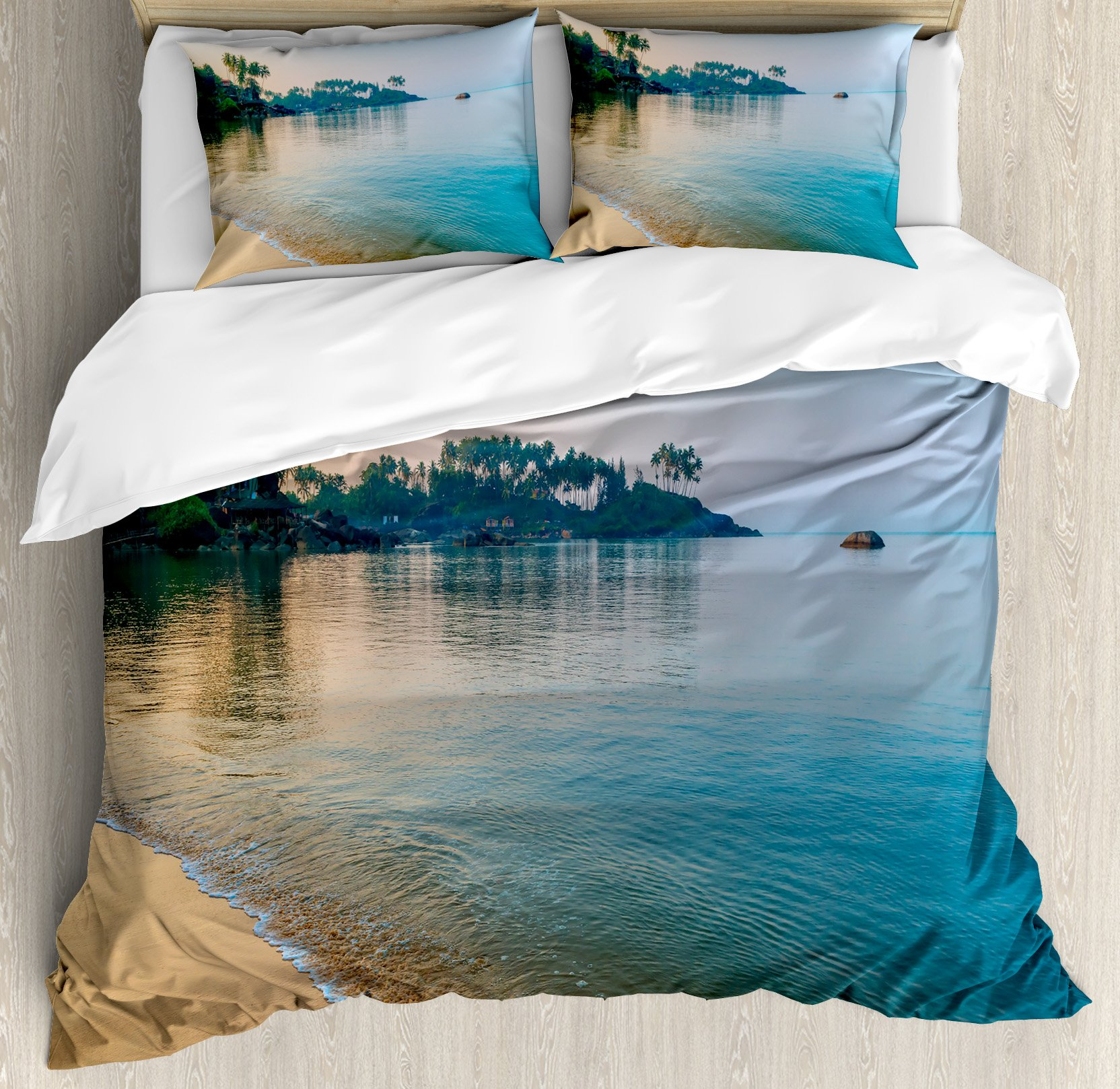 Ocean Duvet Cover Set King Size by Ambesonne, Morning Sun Rays and Palm Trees on the Edge of Golden Beach Relax Calm Theme, Decorative 3 Piece Bedding Set with 2 Pillow Shams, Green Blue Cream