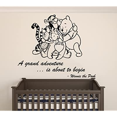 "Winnie Pooh & Friends - A Grand Adventure Is About To Begin Quote Baby Room Wall Decal- Decal For Baby's Room (Wide 22"" x 18"" Height) : Baby"