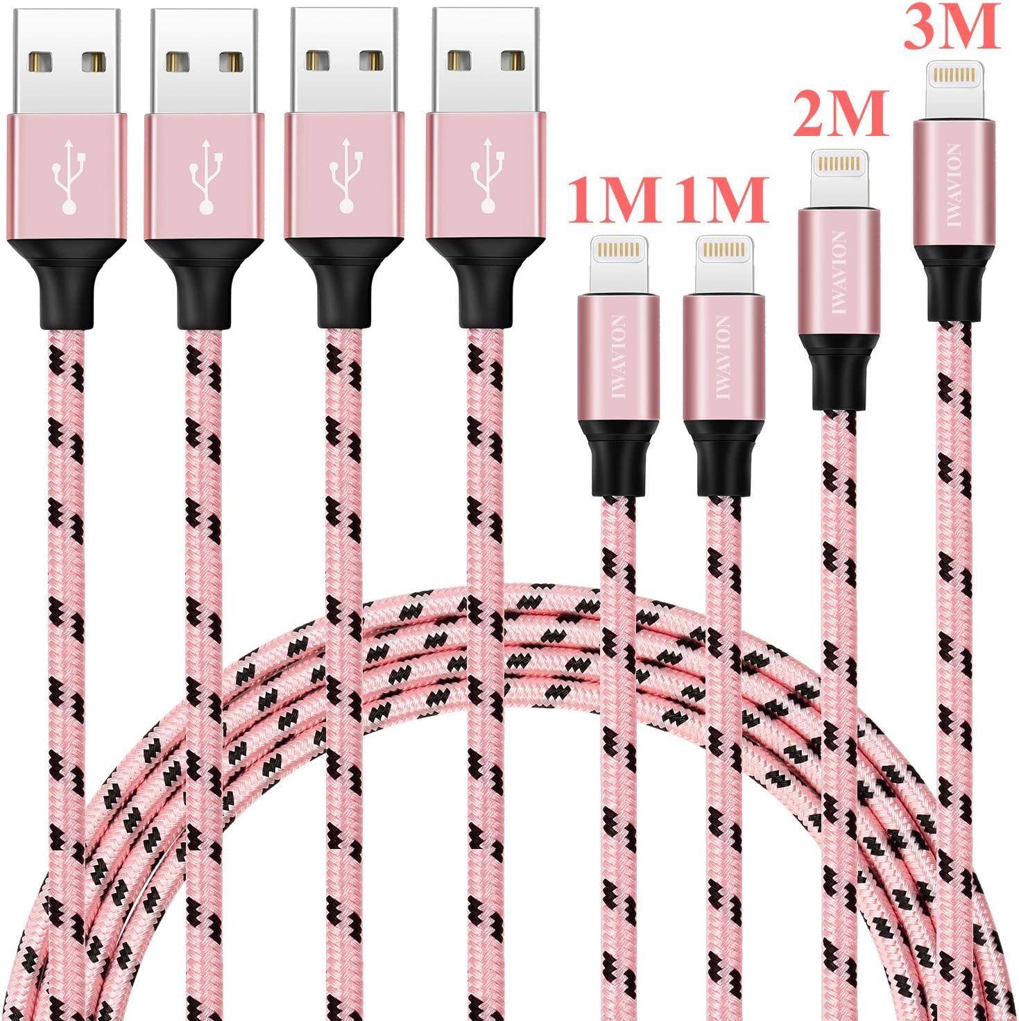 Cable iPhone, IWAVION 4 Pack 1M 1M 2M 3M Cargador iPhone Nylon trenzado Cable para iPhone 7 7Plus SE 6s 6 Plus 5s 5c 5 se, iPad Pro Air 2, iPad mini