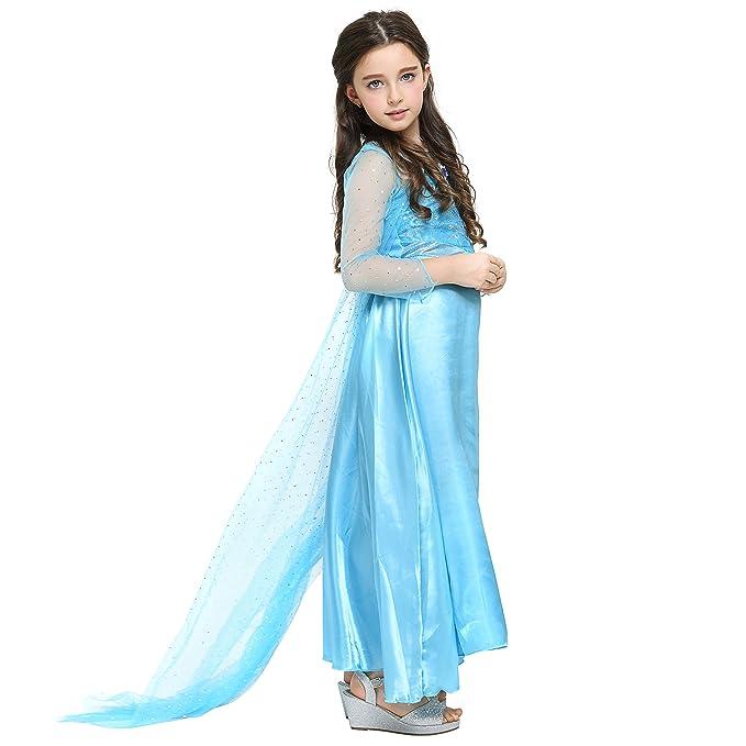 Katara - Disfraz de Princesa Elsa de Frozen - Vestido elegante con tren largo y diamante para niñas de 8-9 años, color Azul (1688): Amazon.es: Juguetes y ...