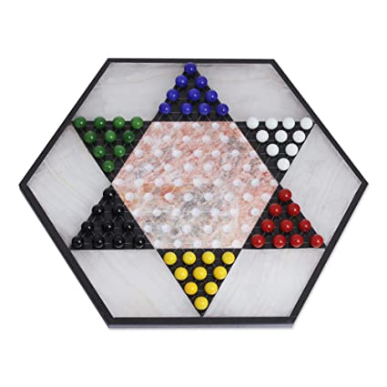 NOVICA Hand Crafted Colorful Contrast Marble And Onyx Chinese Checkers