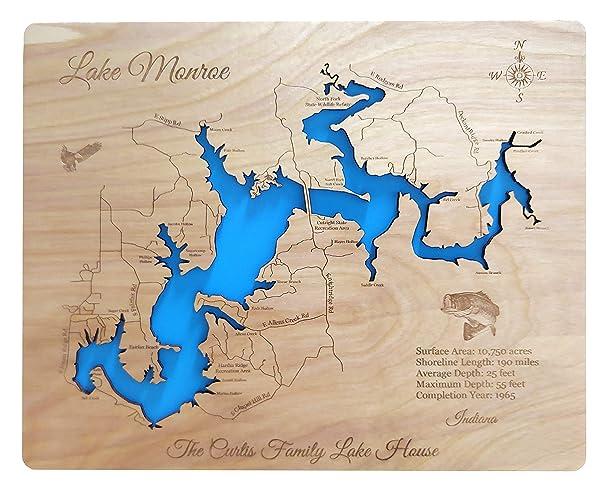 Howe Indiana Map.Amazon Com Lake Monroe Indiana Standout Wood Map Wall Hanging