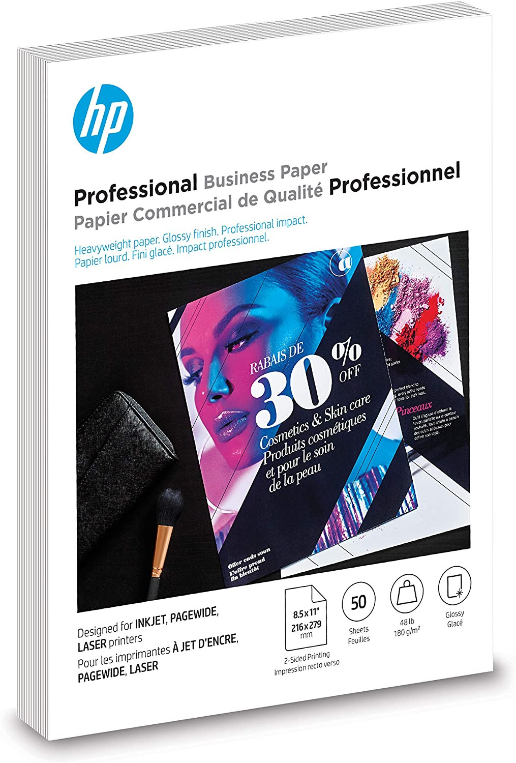 HP Brochure Paper | Glossy Professional InkJet | 8.5x11 | 50 Sheets (6MF93A)