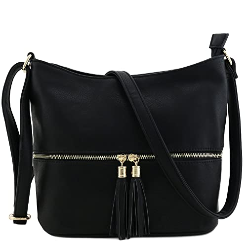 decc2e8fc350 Amazon.com  Tassel Zipper Bucket Crossbody Bag Black  Clothing