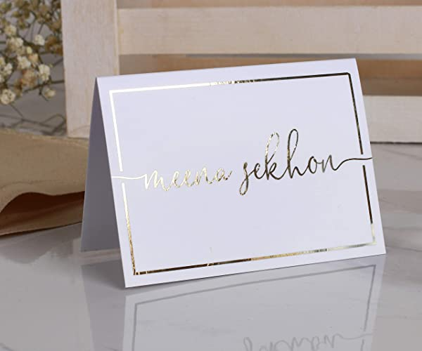 Wedding Name Cards.Amazon Com Wedding Name Table Cards Real Gold Foil Table