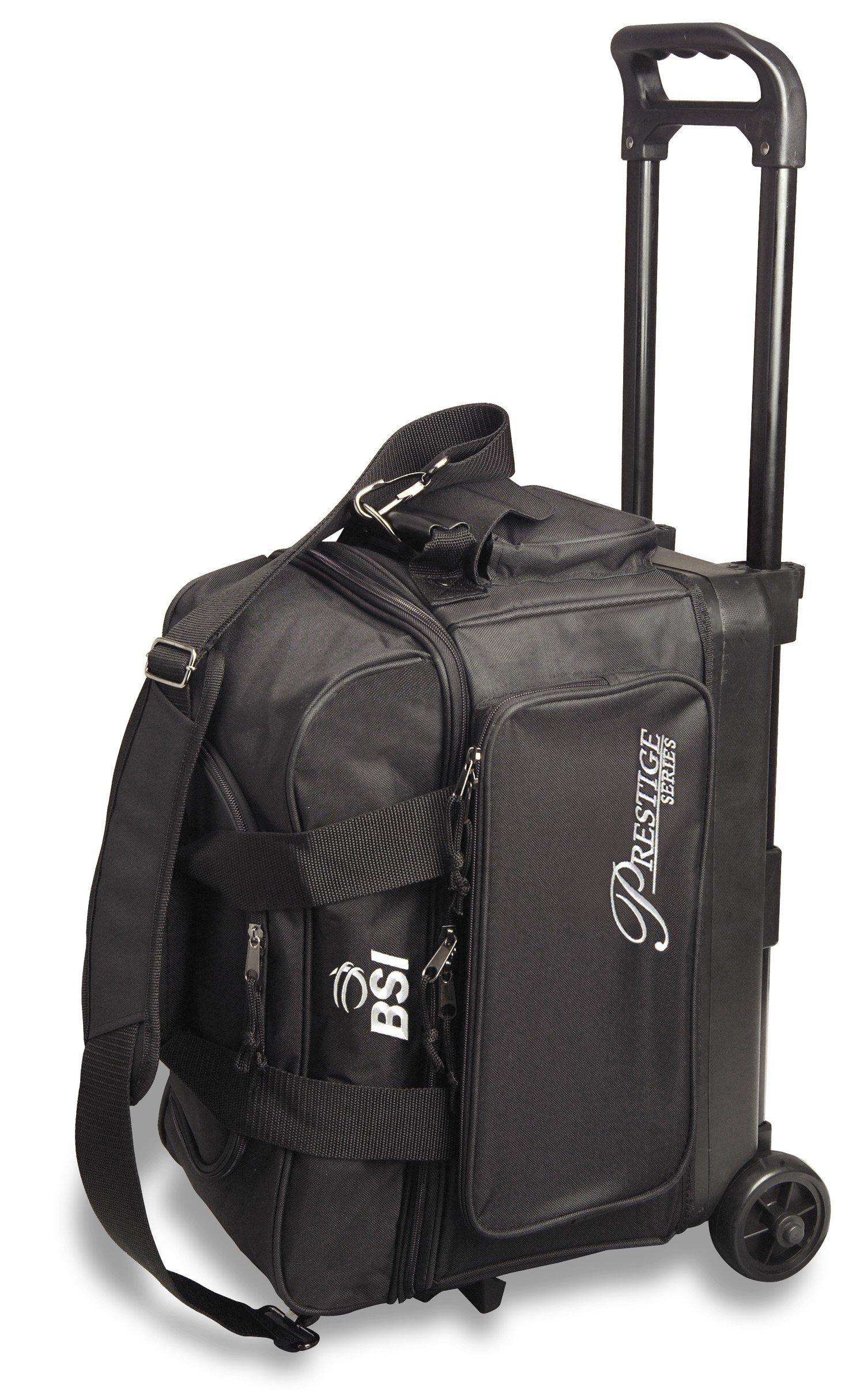 BSI Prestige Series Double Ball Roller Bag (Black/Silver Logo)