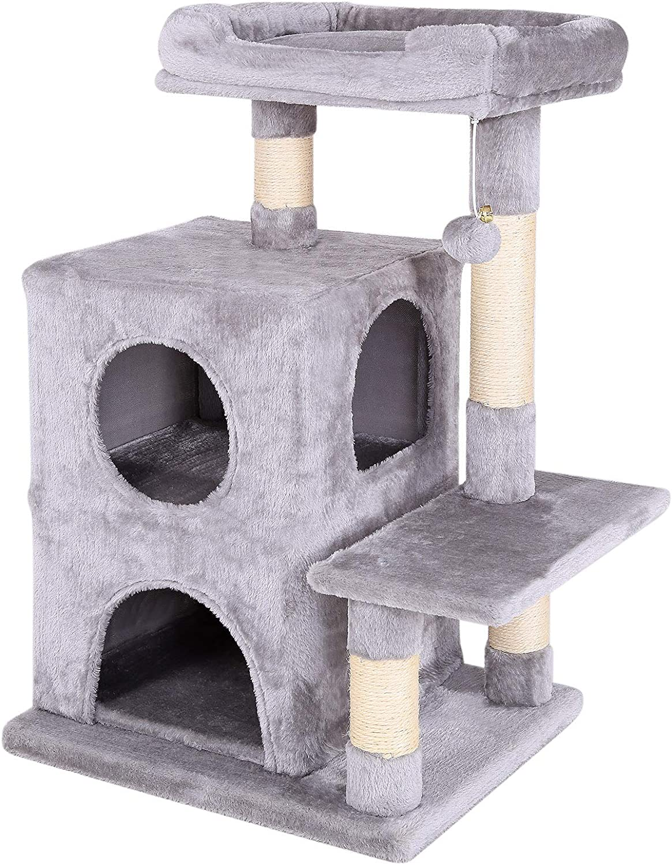 dibea Árbol para gatos Árbol escalador Árbol rascador para gatos Altura 80 cm Gris claro