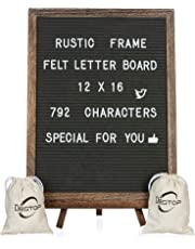 Felt Letter Board with Rustic Vintage Frame and Stand 12x16 inch, Grey Changeable Letter and Message Board Includes 792 Letters, Numbers and Symbols, Hook to Hang, 2 Canvas Bags