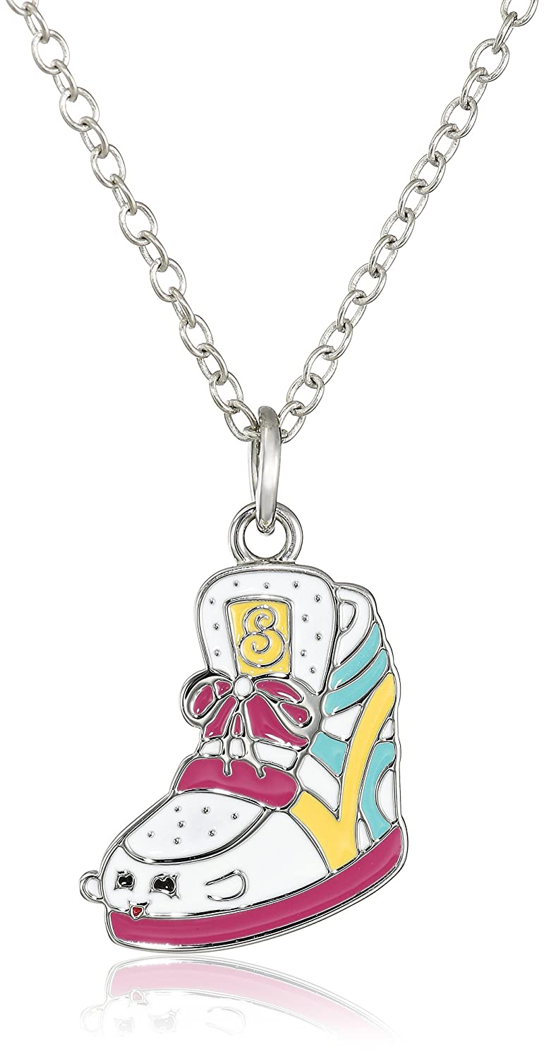 Shopkins Girls' Silver Plated Enamel Chain Pendant Necklace + Free Bonus SPK Mystery Jewelry Pc. 16 + 2 Extender World Trade Jewelers SK-0029P-BR