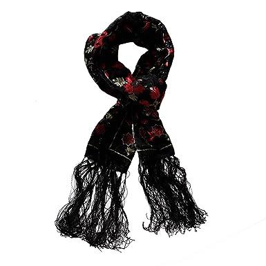 Écharpe en velours soie, écharpe en velours et soie, écharpe dévoré Noir  Rouge d218dd6f07d