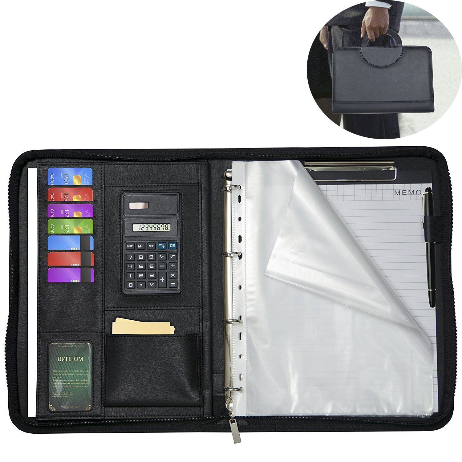 Zippered Padfolios Bussiness Folders Comes With a Writing Pad Faux Leather Case Portfolio Binder Interviews Resume Document Organizer ipad/Tablet/A4 Business Card and Pen Holders Namecards Holders