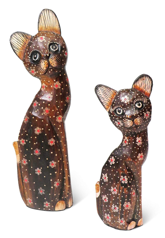 sculpt/é /à la Main Paire de Painted Chat/ Namaste en Bois Chat Cadeau Commerce /équitable /29/cm et 20/cm de Haut