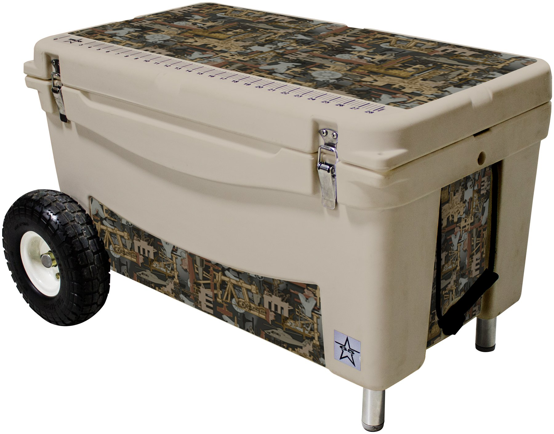 Frio Ice Chests 65Qt Extreme Wheeled Tan Hard Side with Oilfield Camo Theme Vinyl Wrap and Built-in Motion Sensitive Light Bar with Bottle Openers by Frio Ice Chests