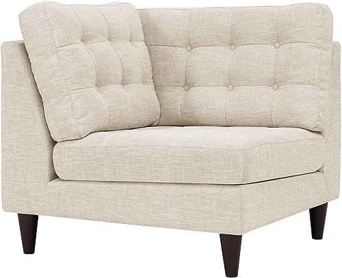 Modway EEI-2610-BEI Empress Upholstered Fabric Corner Sofa Beige