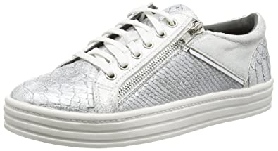 White Snake Leather Look Sneaker, Womens Low-Top Sneakers La Strada