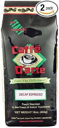 Caffe Darte Espresso Decaf Whole Bean Coffee, 16-Ounce Foil Bags (Pack of 2)