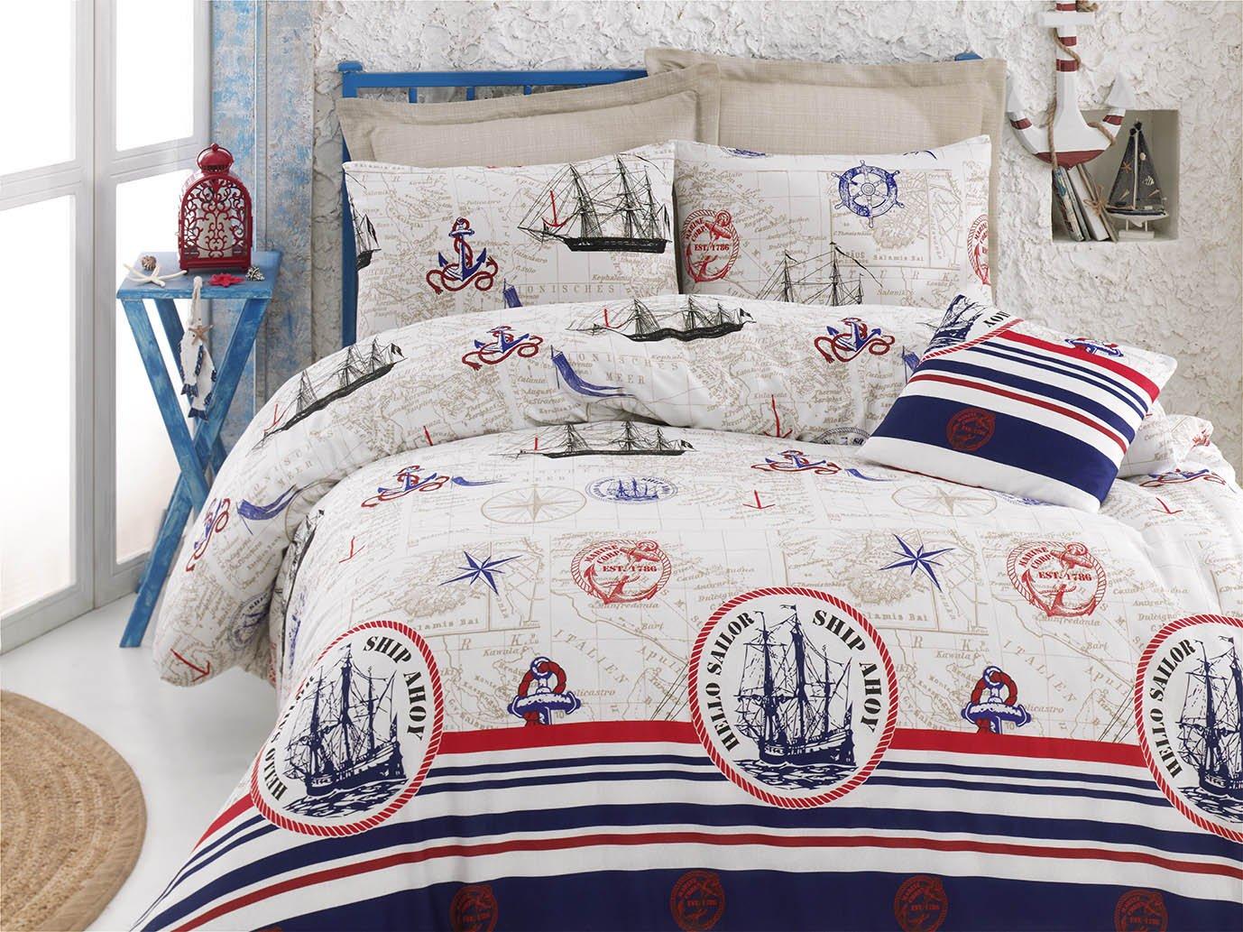 Nautical Bedding Set, Vintage Ship Themed Full/Queen Size Quilt/Duvet Cover Set, COMFORTER INCLUDED (5 Pcs) DecoMood