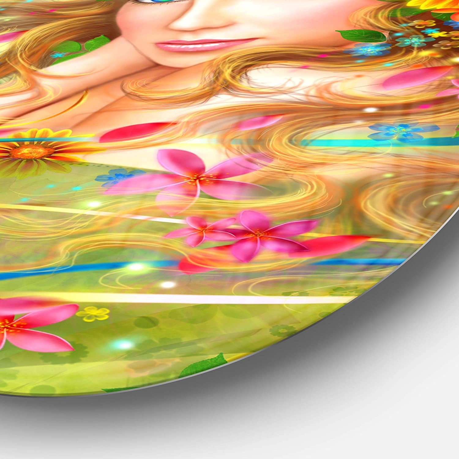 Disc of 23 inch 23 H x 23 W x 1 D 1P Green//Red Designart Fairy Woman with Colorful Flowers Floral Digital Art Metal Artwork