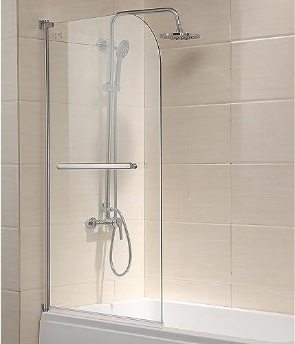 Mecor Shower Door, 55 X31 Glass Enclosure Hinged Bathtub Door Frameless 1 4 Clear Glass Over 180 Pivot Radius Chrome Finish