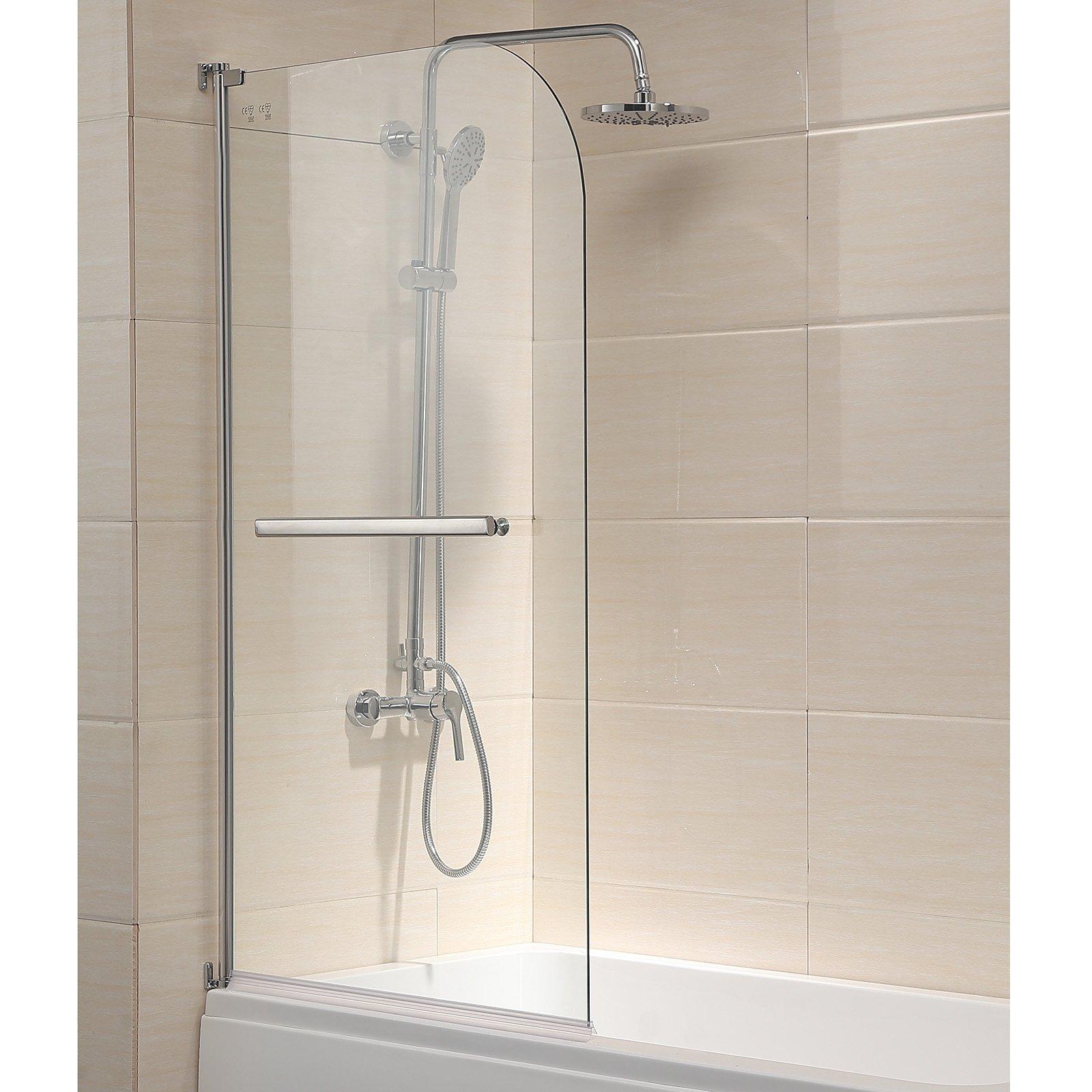Mecor Shower Door, 55''X31'' Glass Enclosure Hinged Bathtub Door Frameless 1/4'' Clear Glass Over 180° Pivot Radius Chrome Finish
