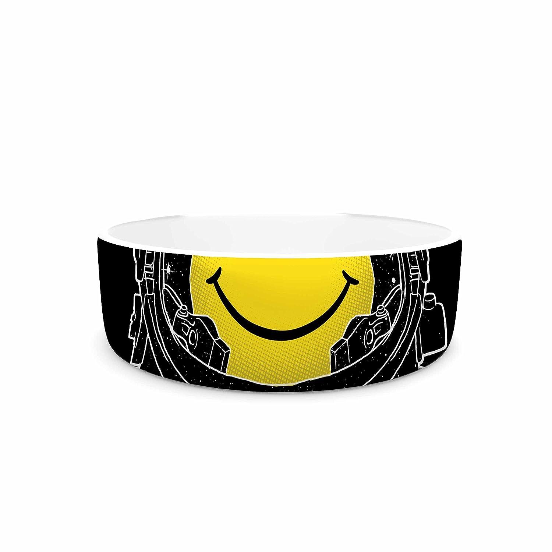 7\ KESS InHouse Digital Carbine Happiness  Yellow Digital Pet Bowl, 7