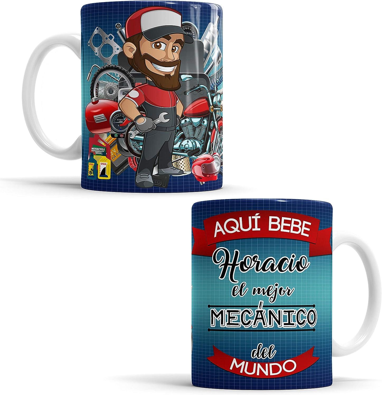 Taza Aquí Bebe El Mejor Mecánico del Mundo/Taza aqui Bebe un Super Mecánico/Taza Personalizada con Nombre/Taza Regalo Original para Mecánico (Mecánico)