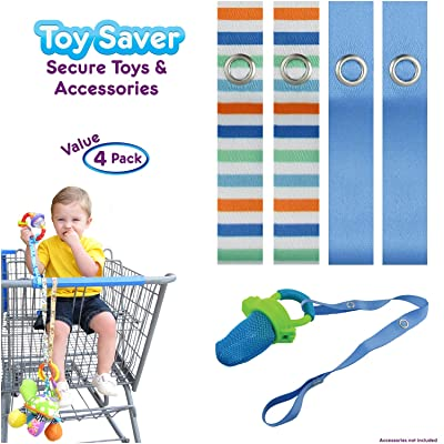 PBnJ baby Toy Saver Strap Holder Leash Secure Accessories Beach/Blue - 4pc: Baby
