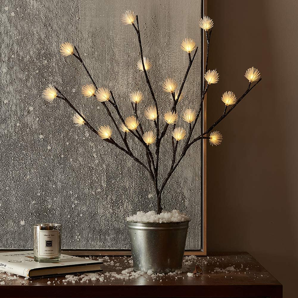 Hairui Lighted Twig Willow Branch with ICY Flowers 18in 24 LED Battery Operated for Christmas Home Decoration Indoor Outdoor Use String Lights Wire Invisible (Vase Excluded)