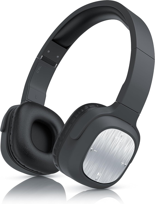 Auriculares Bluetooth CSL 320 | Wireless Headphone | Micrófono Integrado para Dispositivo de Manos Libres| Bluetooth | hasta 10 Horas para música/telefonía | Negro/Plata