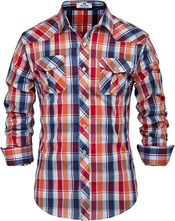 Esast Men Long Sleeve Casual Western Plaid Press Club Buttons Shirt