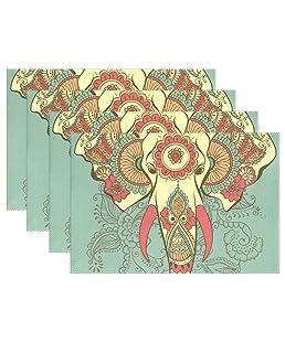 Elefante indiano sul Henna stampa tovagliette, tovagliette all' americana Coosun resistente al calore Resistente alle macchie, antiscivolo Lavabile poliestere tovagliette antiscivolo, lavabile in lavatrice, 30,5x 45,7cm