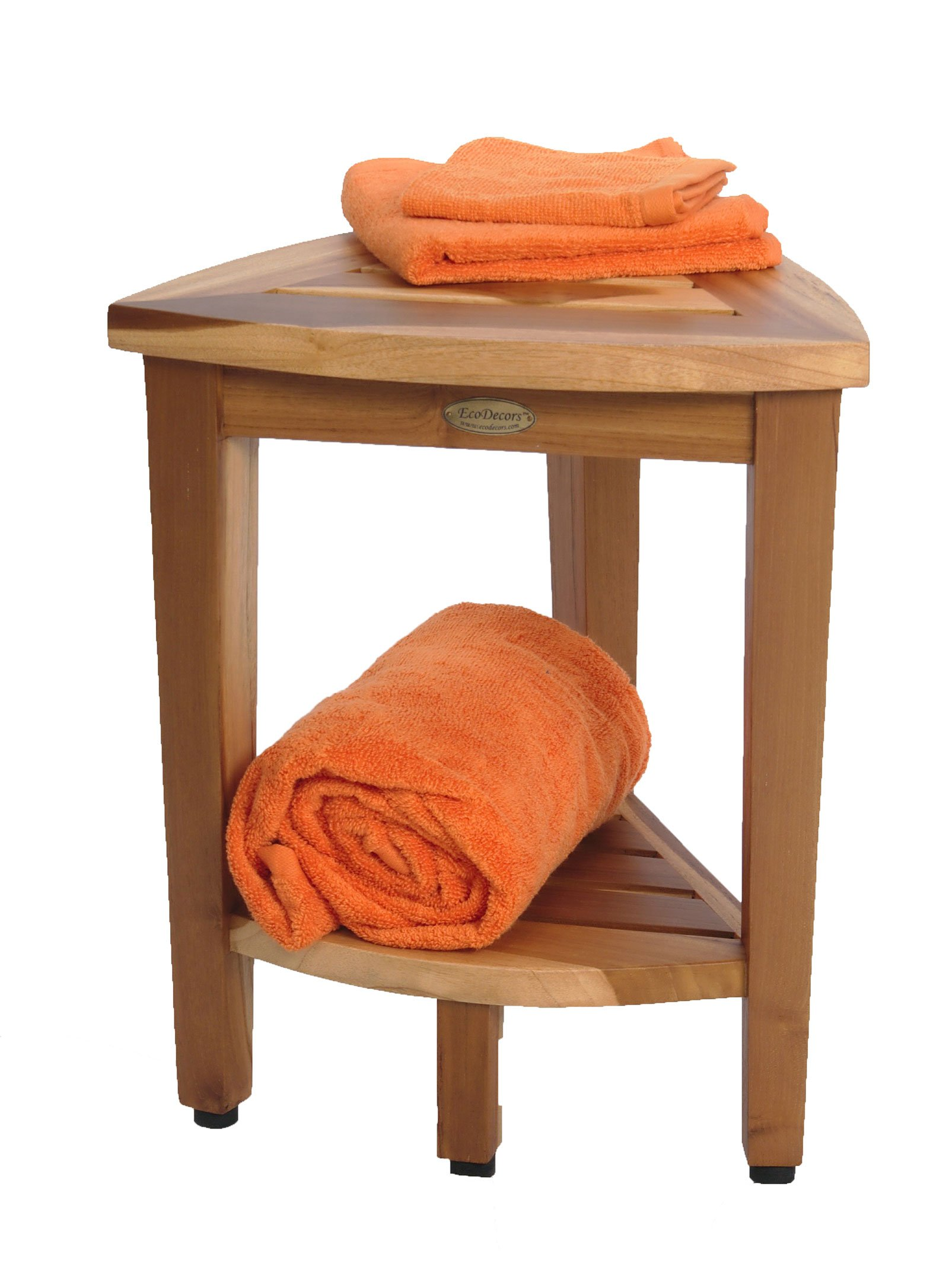 New- 18'' EcoDecors EarthyTeak™-Patent Pending- FULLY ASSEMBLED Compact Teak Corner Shower Bench With Shelf- Shower Sitting, Storage, Shaving Foot Rest by EcoDecors (Image #6)