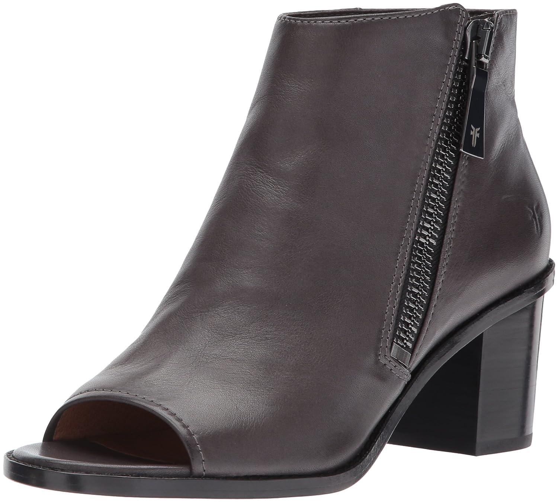FRYE Women's Brielle Zip Peep Bootie Boot B01N9O1GCX 7 B(M) US|Charcoal Polished Soft Full Grain