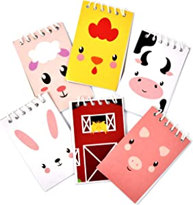48 Count Farm Animal Mini Notepads Barnyard Cowboy Theme Memo Spiral Notebooks Baby Shower Birthday Party Favor Supplies Decor Pig Cow Farmhouse Sheep Rooster Bunny for Kid Boy Girl Classroom Giveaway
