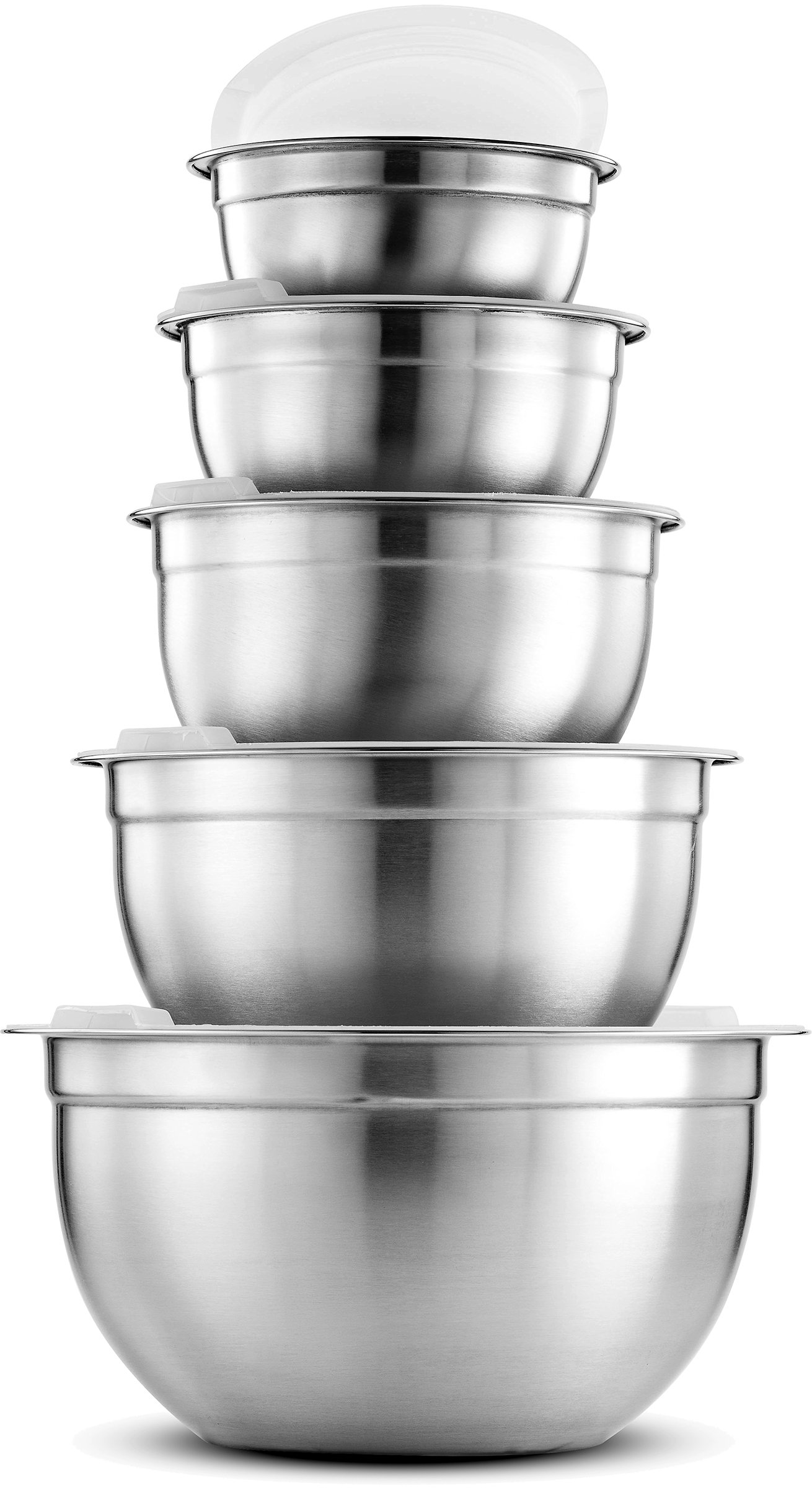 FineDine Premium Various Sizes Stainless Steel Mixing Bowl (10 Piece) With Airtight Lids, Flat Base For Stability & Easy Grip Whisking, Mixing, Beating Bowls Nesting & Stackable for Convenient Storage
