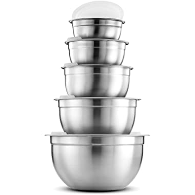 FineDine Premium Various Sizes Stainless Steel Mixing Bowl (Set of 5) With Airtight Lids, Flat Base For Stability & Easy Grip Whisking, Mixing, Beating Bowls Nesting & Stackable for Convenient Storage