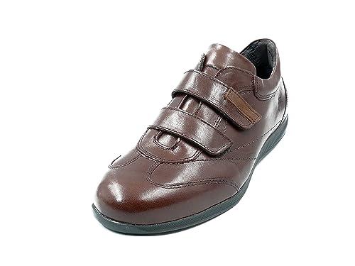 Zapato hombre tipo deportivos marca FLUCHOS cierre velcro en piel color Marrón 8486 - 71N (