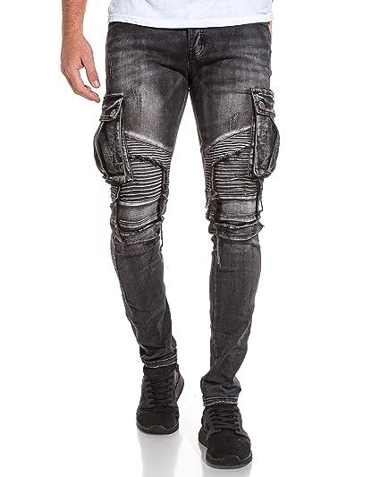 Noir Jeans Poches Cargo Destroy Homme Délavé Blz 1E8z8