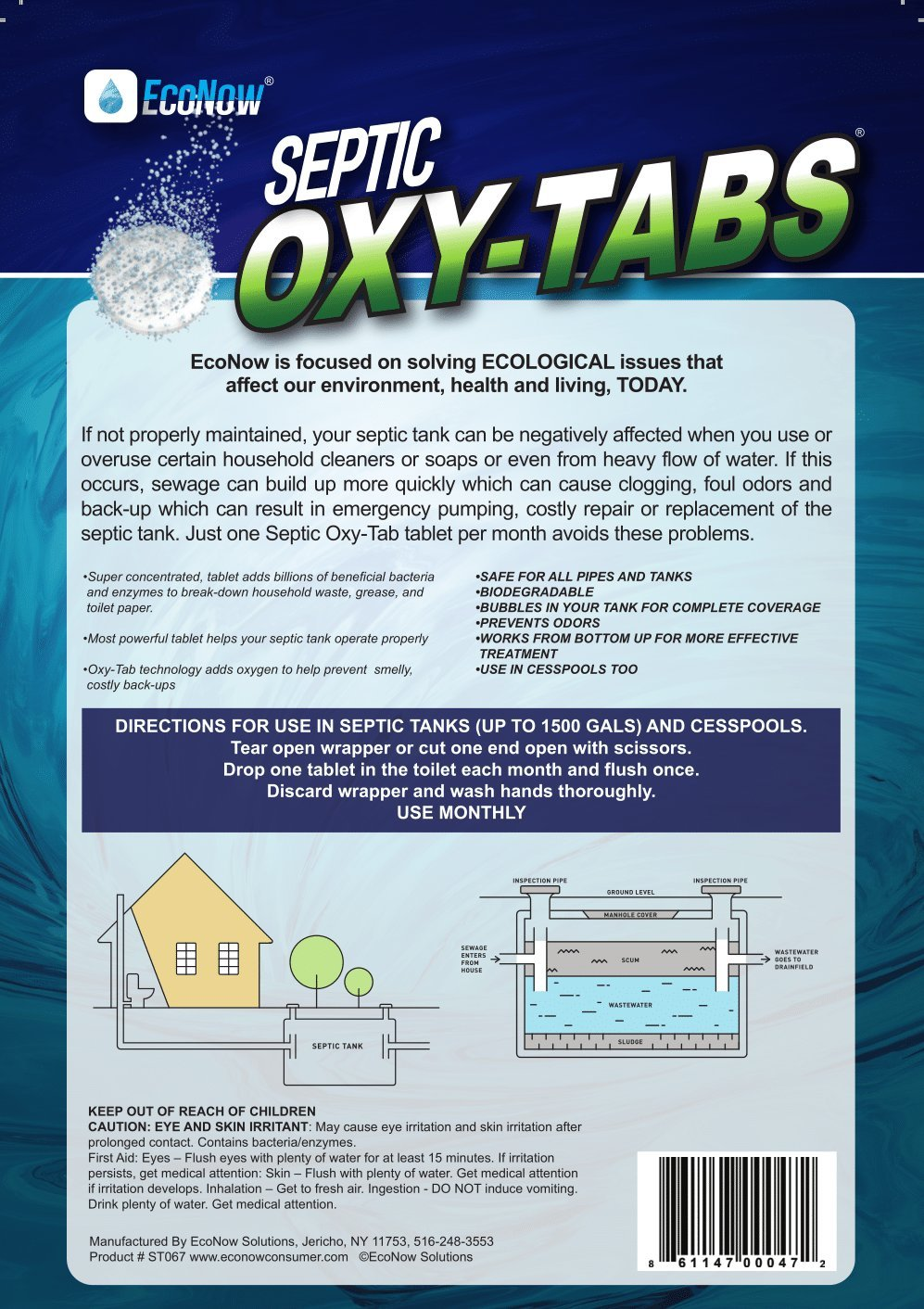 Septic Oxy-Tabs - Powerful Tablet maintains and treats a septic tank system so it operates properly. Helps prevent back-ups and eliminates odors (12) by EcoNow Solutions (Image #1)
